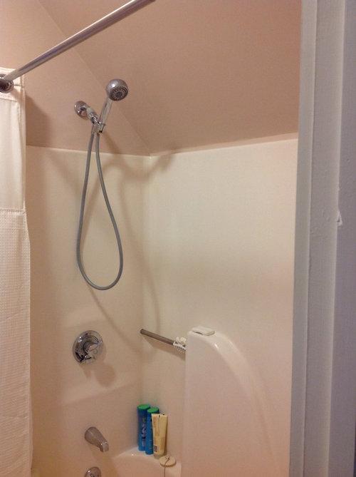 Tile around fiberglass one piece shower