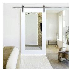 White Primed Mirror Sliding Barn Door with Hardware Kit, Stainless Steel Hardwar