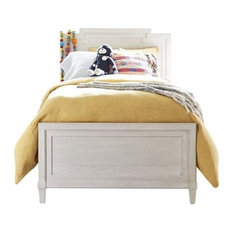 Dahlia Twin Panel Reading Bed With Twin Storage Trundle, Wire Brushed Alabaster