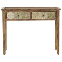 "Natural Wood Desk With Carved Distressed White Finish Drawers, 40"" X 31"""