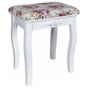 Modern Dressing Table Stool With White Finished Legs and Rose Padded Cushion