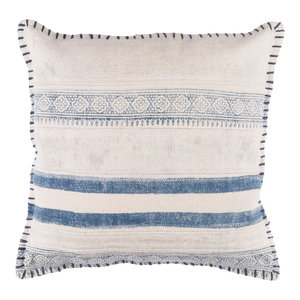Lola Pillow, Blue and Cream, Cover Only, 20""
