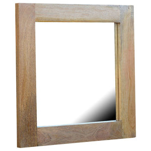 Natural Solid Wood Square Framed Wall Mirror
