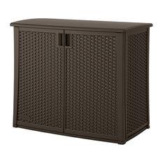 Outdoor Resin Wicker Storage Cabinet Shed, Dark Mocha Brown