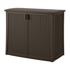 Outdoor Resin Wicker Storage Cabinet Shed, Dark Mocha Brown