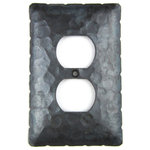 Bushere & Son Iron Studio Inc. - Rustic Rancho Style Hammered Iron Switch Plate Cover Single Duplex EPH41, Bronze - Our high quality switch plate covers are cut out of a sheet of iron and come with an authentic hammered texture. Your choice of 3 finishes. Made in the USA.