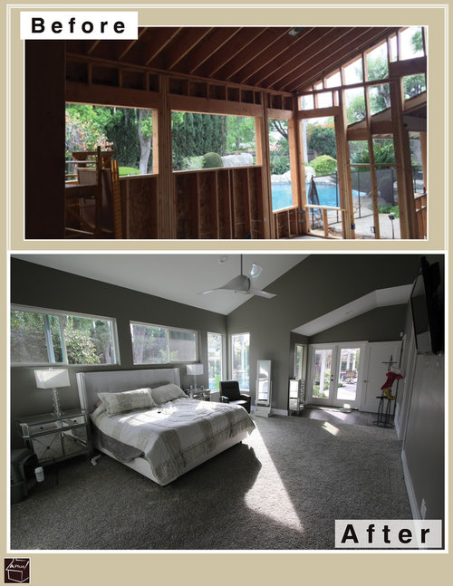 Master bedroom room addition before after