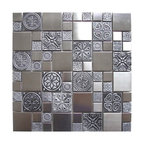 """11.8""""x11.8"""" Roman Pattern Stainless Steel and Pewter Accents Tile, Single Sheet"""