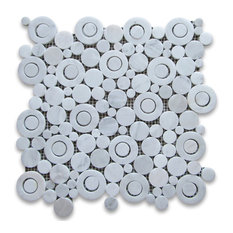 "12""x12"" Carrara White Circle Bubble Mosaic Tile Polished"