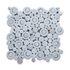 "12""x12"" Carrara White Circle Bubble Mosaic Tile Polished"