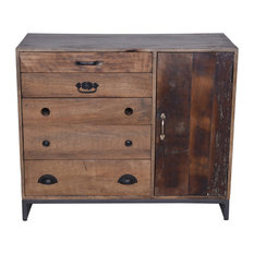 Five Drawer Mango Wood Accent Entry way Table