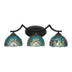 "Zilo 3 Light Bath Bar With 7"" Turquoise Cypress Art Glass"