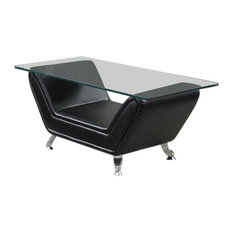 Acme Furniture Modern Black Bonded Leather Glass Top Coffee Table Coffee Tables
