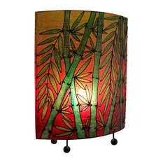 Tropical Colored Lucky Bamboo Oval Table Lamp