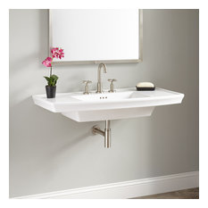 """Signature Hardware 937037 Olney 40"""" Porcelain Wall Mounted Bathroom Sink with 3"""