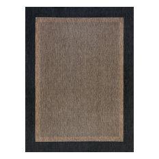 Dania Transitional Solid Border Black/Gold Indoor/Outdoor Area Rug, 9'x12'