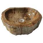 Eden Bath - Rustic Natural Petrified Wood Stone Unique Bathroom Vessel Sink, Natural Stone - You simply cannot get more natural than a stone sink made of petrified wood. Although it's called petrified wood, and it actually was at one point in time natural wood, it is now stone. Over thousands of years the process of fossilization has replaced all the organic materials in the wood with minerals, keeping the structure of the wood but effectively turning it into stone.