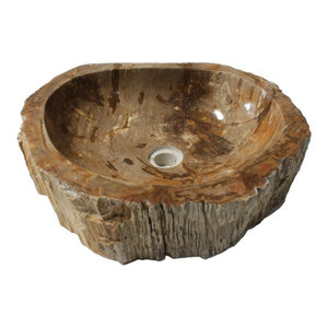 Rustic Natural Petrified Wood Stone Unique Bathroom Vessel Sink, Natural Stone