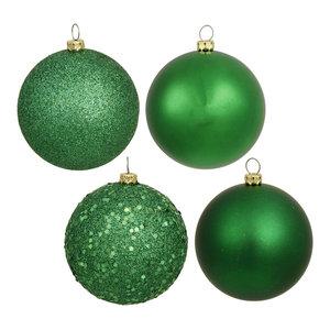 "2.75"" 4-Finish Assorted Plastic Ornaments, Set of 20, Green"