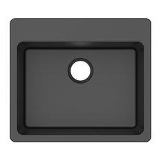 "Winflo - Winpro Black Granite Quartz 25"" x 22"" x 9.5"" Single Bowl Dual Mount Sink - Kitchen Sinks"