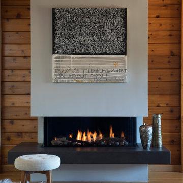 Wood Farmhouse Fireplace | Kimball Starr Interior Design
