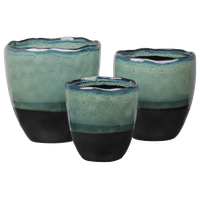 Ceramic Round Pots with Banded Bottom, Gloss Fern Blue Finish , Set of 3