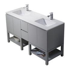 Emmet 60 Double Vanity, Metal Gray, White Sink, White Quartz Countertop