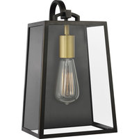 "Lindbergh 1-Light Wall Lantern, 6.75"", Antique Bronze/Painted Burnished Brass"