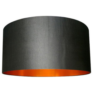Fabric Lampshade, Gunmetal and Brushed Copper, 35x20 cm
