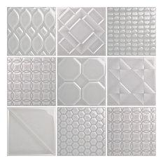 "6""x6"" Ceramic Wall Tile Mixed Format Decos, White, Light Denim"