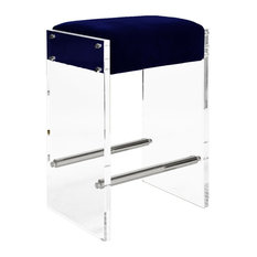 Worlds Away Indy Acrylic Panel Counter Stool, Nickel and Navy Velvet