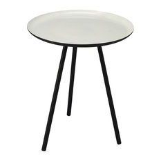 Oval Tray Tripod End Table, Black and White, Small