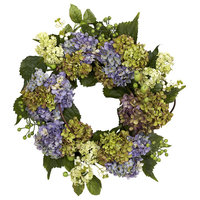 22 in. Hydrangea Wreath in Multi