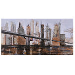 Renwil - Urban Style Wall Art - A metal bridge braces the canvas in this striking cityscape done in sophisticated neutral tones. This piece would look amazing in a Transitional-style home. This wall art makes a grand statement in a living room, bedroom or entryway.