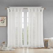 Madison Park Floral Twist Tab Top Window Panel Embellished w/ Flower in White