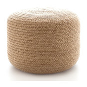 "Braided Natural Indoor/Outdoor Pouf, 30""x14"""