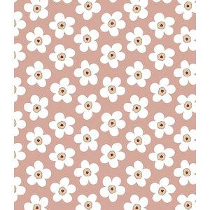 Lola Small Big Flower Rosewood PVC Tablecloth, 140x140 Cm
