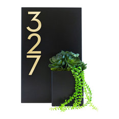 """Curb Appeal House Number Plaque, 12""""Wx20""""H, Black, With Numbers"""