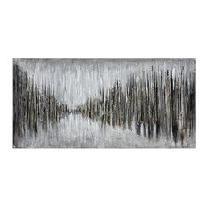 Black And White Abstract Painting On Canvas Made Of Stretched Canvas, Wood In