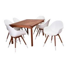 Amazonia Charlotte 7-Piece Rectangular Patio Dining Set | Eucalyptus Wood