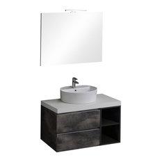 Valentina Industrial Bathroom Vanity Unit With Round Sink, 90 cm