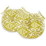 "Greendale Home Fashions - Round Outdoor 18"" Bistro Chair Cushion, Set of 2, Shoreham Green Ikat - Add a bit of comfort and style to your outdoor bistro set with these Bistro Cushions from Greendale Home Fashions. Cushions feature a center circle tack which prevents filling from bunching and shifting, and two string ties to keep cushions firmly secured to chairs.  Each set includes two 18 inch round chair cushions made from a 100% polyester, UV coated material that is fade, stain and water resistant.  The cushion's soft poly fiber fill is made from 100% recycled, post-consumer plastic bottles, and overstuffed for added comfort, strength and durability.  A variety of colors and prints are available to enhance your outdoor decor."