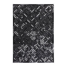 Spark Leather Area Rug, Black and Silver, 160x230 cm