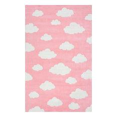 Handmade Modern Clouds Kids Rug, Pink, 5'x8'