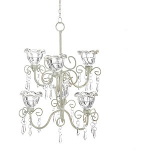 Iron Crystal Blooms Double Chandelier