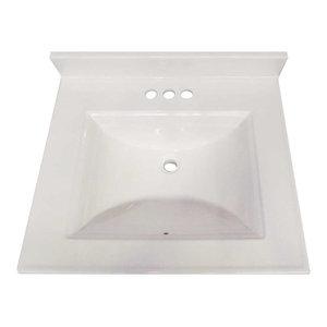 "Camila Bathroom Vanity Top With Backsplash Cultured Marble Solid White, 22""x31"""