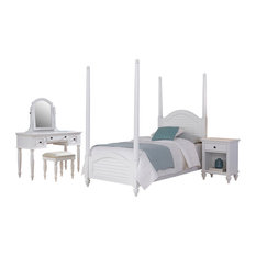 Home Styles Bermuda Twin Poster Bed 4-Piece Bedroom Set, White