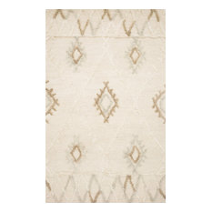 """Contrasting Pile Heights and Texture Wool Symbology Ivory/Slate Rug, 5'-0"""" X 7'-"""
