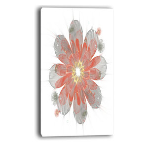 Glowing Crystal Green Fractal Flower Floral Canvas Artwork Print Contemporary Prints And Posters By Designart
