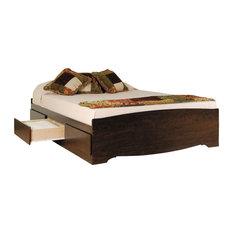 Prepac Furniture   Prepac Espresso 6 Drawer Platform Storage Bed   Queen   Platform  Beds